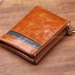 กระเป๋าสตางค์ผู้หญิง ใบสั้น กระเป๋าสตางค์ หนังวัวแท้ ลง Oil wax รุ่นซิปคู่ ใส่บัตร ใส่เงิน ใส่เหรียญ ได้จุใจ กระเป๋าสตางค์หนังแท้ สีน้ำตาล อูฐ 548786_2