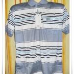 เสื้อโปโลผู้ชาย ลายขวาง สีเทาสลับขาว pl40001