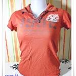 #155007 Used เสื้อยืดสีส้มอิฐ เสื้อคอปก ลดราคา