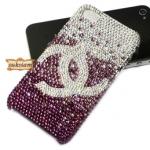 ชาเนล Case iPhone 5s Chanel Purple เคสไอโฟน 4s สวยๆ ประดับด้วยคริสตัลlสีม่วงไล่ระดับ crystal