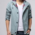 เสื้อ แจ็คเก็ต ผู้ชาย แบบ มีฮู้ด Jacket แขนยาว สีเขียว อมเทา Jacket ผ้า 2 ชั้น ใส่สบาย เสื้อนอก แบบมีกระเป๋า ด้านใน แบบ สวย ๆ 635865