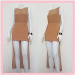 **สินค้าหมด dress2174 เดรสแฟชั่นผ้ายืดเนื้อดี แขนกุด เอวยืด ชายหลังยาว สีน้ำตาลโอวัลติน