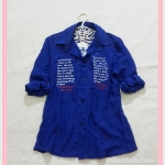 **สินค้าหมด blouse2056 เสื้อเชิ้ตแฟชั่นไซส์ใหญ่ คอปก แขนยาว กระดุมหน้า ผ้าชีฟองสกรีนลายตัวอักษรสีน้ำเงิน