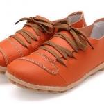 รองเท้าหุ้มส้น รองเท้าหนังแท้ สีส้ม รองเท้าผู้หญิง หุ้มส้น สไตล์รองเท้าผ้าใบ แบบเท่ ๆ เชือกผูกสีน้ำตาล รองเท้าเท่ ๆ เรียบหรู มีสไตล์ 333685_2