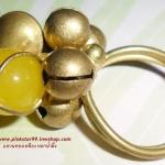 (ขายแล้วค่ะ) C011 แหวนทองเหลืองหัวใจหยกน้ำผึ้ง