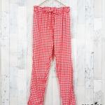 trousers366 กางเกงขายาวผ้าไหมอิตาลีเอวยืด 26-38 นิ้ว ลายสก็อตสีขาวแดง