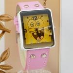 นาฬิกาข้อมือ สไตล์ วัยรุ่น นาฬิกาข้อมือ สายหนังแท้ ลายการ์ตูน Spongebob การ์ตูนยอดฮิต สีดำ แดง ฟ้า ชมพู ขาว หน้าปัดเหลือง น่ารักสุด ๆ 433548
