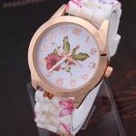 นาฬิกาข้อมือผู้หญิง สายซิลิโคน ใส่กับชุดเดรส นาฬิกา ลายดอกไม้ สีชมพู หวาน ๆ ของขวัญ ให้แฟน สุดเก๋ no 440174