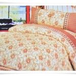 ชุดผ้าปูเตียง ผ้าปูที่นอน สีโทนส้ม ประดับดอกไม้ Cotton 6 ฟุต 5 ชิ้น M004