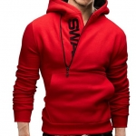 เสื้อ แจ็คเก็ต ผู้ชายแขนยาว แบบสวม เสื้อกันหนาว สีแดง วัยรุ่นเท่ๆ สวยเด่น ด้านในตัดด้วย สีดำ แบบสวย มีสไตล์ มีฮู้ดด้านหลัง 88604_4