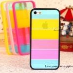 เคส iphone 5 สีรุ้ง Rainbow case ขอบสีดำ ฟรีปากกา Touch screen