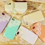 Case iphone 5 ประดับไข่มุก และ ลูกไม้ ดูน่ารัก ไฮโซ สุด ๆ สีเขียว สีชมพู สีครีม สีม่วง สีส้ม no 944731