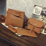 ซื้อ 1 ได้ถึง 4 กระเป๋าสะพายหนังทรงสวย + กระเป๋าใบเล็ก สีน้ำตาล พร้อมส่ง
