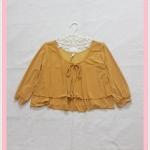 **สินค้าหมด blouse2045 เสื้อแฟชั่นไซส์ใหญ่ แขนสามส่วน โบว์อก ผ้าเด้งเนื้อดีสีเหลืองมัสตาร์ด