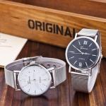 นาฬิกาข้อมือ ผู้หญิง ใส่ทำงาน นาฬิกาข้อมือ สาย Stainless สีเงิน สายแบบโซ่ ตีแบน เส้นใหญ่ ของขวัญให้แฟน สุดหรู 152158