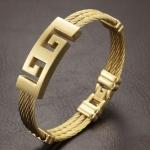 สร้อยข้อมือผู้ชาย กำไลข้อมือชาย 316L stainless steel กำไลทอง รูปตัว G ชนกัน เพิ่มความหรูหรา ให้กับ ข้อมือของคุณ ของขวัญให้แฟน คนพิเศษ 257017