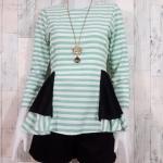 SALE!! blouse1806 เสื้อแฟชั่น ทรงเข้ารูปแขนยาว ระบายเอว ซิปหลัง ผ้าไหมอิตาลีเนื้อนิ่มสีครีมเขียวพาสเทล