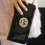 กระเป๋าสตางค์ผู้หญิง ใบยาว กระเป๋าสตางค์ หนังเงา ซิปรอบ ติดคริสตัล รูปมงกุฏ อังกฤษ กระเป๋าสตางค์แบบหรูหรา ถือออกงาน กลางคืนได้เลย ใส่โทรศัพท์ได้ 323784