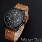 นาฬิกาข้อมือ ผู้ชาย สายหนังแท้ สีดำ สีน้ำตาล หนังสวย ดีไซน์ แนวสปอร์ต แบบหรูหรา มีระดับ มีระบบวันที่ ดีไซน์ จากอิตาลี ของขวัญให้แฟน สุดหรู 94186