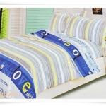 ชุดผ้าปูเตียง ผ้าปูที่นอน ลายขวางโทนฟ้า Cotton 6 ฟุต 5 ชิ้น M006