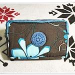 กระเป๋าใส่ดินสอ ใส่ของจุกจิก สีน้ำตาลลายดอกไม้ KP905