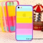 เคส iphone 5 สีรุ้ง Rainbow case ขอบสีม่วง ฟรีปากกา Touch screen
