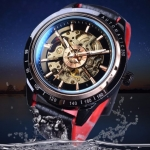นาฬิกาข้อมือ โชว์กลไก Mechanical watch สายหนังสีดำ ตัดแดง นาฬิกาโชว์กลไก แบบสปอร์ต 101775