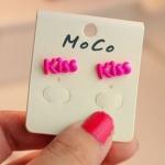 พร้อมส่ง **เครื่องประดับ ต่างหู KISS สีสันสดใสจี๊ดจ๊าด สีชมพู