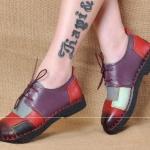 รองเท้าหุ้มส้น ผู้หญิง รองเท้าหนังแท้ รองเท้าคัทชู แบบหนัง สไตล์ วินเทจ เรโทร หนังนิ่ม ลาย หนังสลับสี สุดคลาสสิค รองเท้าใส่เที่ยว เก๋ ๆ 794220