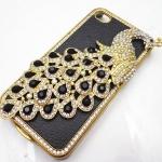 เคส iphone 4 4S เคสคริสตัล รูปตัว นกยูง เคสหนัง สีดำ ติดคริสตัล สีดำ เงิน กรอบทอง วิ้ง ๆ สวยหรู ราคาถูก 377195