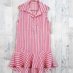 SALE!! dress3421 ชุดเดรสน่ารักคอปกเชิ้ตทรงหางปลา หน้าสั้นหลังยาว ผ้าไหมอิตาลีเนื้อนิ่มลายริ้วใหญ่ สีขาวชมพู