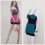 **สินค้าหมด Sale!! dress1876 เดรสแฟชั่น เสื้อสายเดี่ยวสีดำ ตัดต่อกระโปรงชีฟองระบายชั้น สีเขียวหัวเป็ด