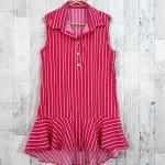 SALE!! dress3427 ชุดเดรสน่ารักคอปกเชิ้ตทรงหางปลา หน้าสั้นหลังยาว ผ้าไหมอิตาลีเนื้อนิ่มลายริ้วเล็ก สีชมพูช็อคกิ้งพิ้งค์
