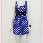 **สินค้าหมด Sale!! dress2045 เดรสแฟชั่นผ้าคอตตอน โบว์เอว แขนกุด สีน้ำเงินลายจุดขาว