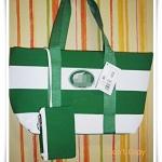 กระเป๋าถือ กระเป๋าสะพาย Lc สีเขียวเข้มสลับขาว