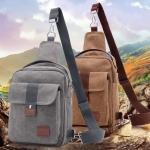 กระเป๋าสะพายข้าง กระเป๋าผ้าแคนวาส ปรับเป็น กระเป๋าคาดอก คาดด้านหน้าได้ ขนาดกำลังดี มีช่องซิปแยกเยอะ 607233