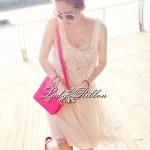 พร้อมส่ง - Lady Twinkle Glam Mini dress มินิเดรสแต่งเลื่อมและลูกปัดสีครีม