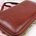 กระเป๋าสตางค์หนังวัวแท้ กระเป๋าสตางค์ผู้ชาย ผู้หญิง ใช้ได้ หนังแท้ นิ่ม กระเป๋าสตางค์ ซิปรอบ สไตล์ วินเทจ แต่ง ตะเข็บ แบบคลาสสิค ใส่บัตรได้เยอะ 558170