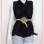 **สินค้าหมด blouse1810 เสื้อแฟชั่นไซส์ใหญ่ ผ้าชีฟอง คอจีน กระดุมหน้า แถมเข็มขัดหนังหัวดอกไม้ สีดำ รอบอก 46 นิ้ว ความยาว 25 นิ้ว
