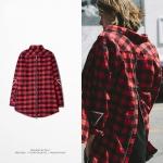 Preorder เสื้อแขนยาว สก๊อตสีแดงซิป High Street C2H4 LA