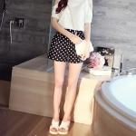 SALE!! Shorts476-Size-S กางเกงขาสั้นลายจุดพื้นสีดำ ผ้าฮานาโกะเนื้อหนาสวย