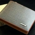 กระเป๋าสตางค์ผู้ชาย ใบสั้น หนัง Pu กันน้ำ หนังเรียบ กระเป๋าสตางค์ สีเทา แบบสวย มีพับ ใส่รูป แบบเรียบ มีดีไซน์ 874241