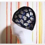 หมวกว่ายน้ำ แฟชั่น สีดำ พิมพ์ลายดอกไม้ สีทอง สวยหรู ไฮโซ สุด ๆ sc002
