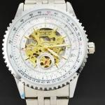 นาฬิกาข้อมือ Mechanical watch นาฬิกาโชว์กลไก นาฬิกาเปลือย สาย Stainless หน้าปัดขาว ตัวกลไกสีทอง ตัดกันอย่างลงตัว no 82069