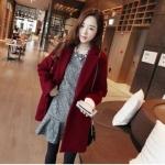 เสื้อโค้ทกันหนาว สไตล์เกาหลี ทรงสวย Classic ผ้าสำลีเนื้อเบา บุซับในกันลม สีไวน์แดง พร้อมส่ง