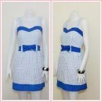 **สินค้าหมด Sale!! dress2000 เดรสแฟชั่นผ้าเนื้อดีลายสก็อต โบว์เอว สีฟ้า