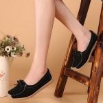 รองเท้าผู้หญิง หุ้มส้น ส้นแบน รองเท้าหนังแท้ ผู้หญิง รองเท้าคัทชู ใส่สบาย ดีไซน์ หนังแท้ มีเชือกผูก ด้านหน้า ใส่ทำงาน ใส่เที่ยว สีดำ no 40782