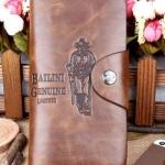 กระเป๋าสตางค์ผู้ชาย ใบยาว หนังแท้ สไตล์ cowboy สีน้ำตาล ใส่บัตรได้เยอะ มี 2 พับ สินค้าลดราคา จำนวนจำกัด no 93486_3