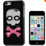เคส iPhone 5c ประดับเม็ดคริสตัล ด้านใน คล้ายเม็ดทราย เคส แบบ เก๋ งาน Hand made ไม่ซ้ำใคร ลายหัวกระโหลก เคสแนวร๊อค สีดำ สีขาว no 98246