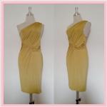 **สินค้าหมด dress2059 เดรสออกงานแพลตตินั่มผ้าเนื้อดี แขนกุดบ่าเดียว จับจีบอก สีเหลืองมะนาว รอบอก 36 นิ้ว